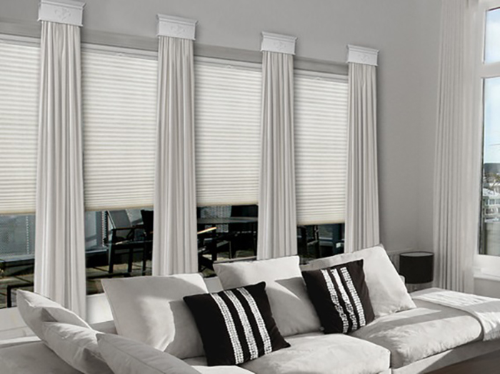 Hunter Douglas Applause top down bottom up Literise with stationary drapery panels